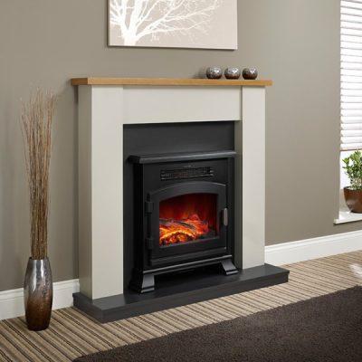 Ravensdale Electric Fireplace Country Oak Shelf
