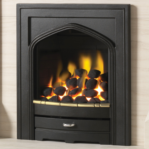 pure glow churchill gas fire brass