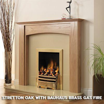 Stretton Oak with Bauhaus Brass Gas Fire