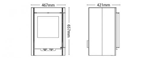 Hotspur 5 Woodburning Stove Dimensions